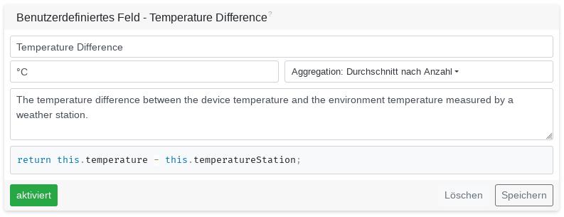 Temperatur Difference JavaScript