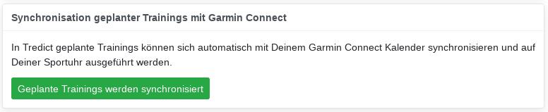 Garmin Training API Einstellungen
