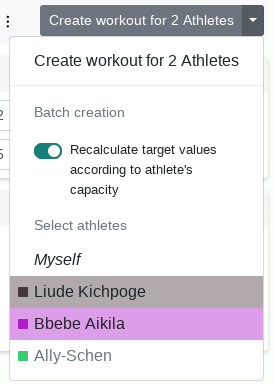 Batch creation of workouts - Changelog