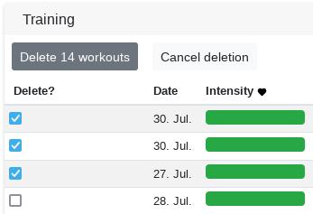 Batch deletion of workouts - Changelog