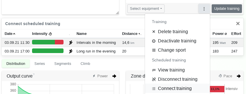 Connect scheduled training sessions - Changelog