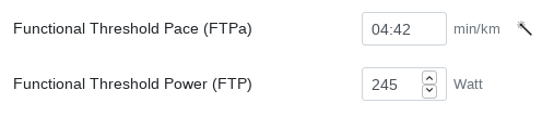 The FTPa can be calculated automatically from the FTP when a magic wand is displayed.